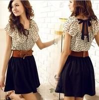 Hot Selling Fashion Women Casual Dress women Short-sleeve Dots Mini Dress Summer Woman dress Free shipping