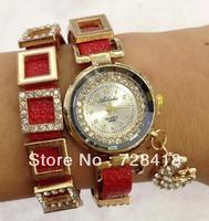 Hot Sale! Fashion Popular Style golden Rhinestone case colors leather hand chain bracelet Quartz Watches Women dress watch