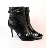 Free shipping 2014 new fashion genuine leather fur boots sheepskin thin heels high-heeled mid-calf elegant sexy women boots533