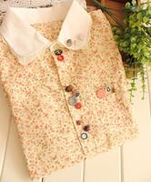 2014 Summer fashion flower printing badges short sleeve women blouses
