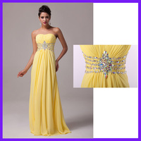 2014 Free Shipping 1pc/lot GK Charming Long Floor Length Yellow Sequins Prom Dress Evening Gown CL6002