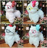 Promotions  Fashion Cute Japan glasses alpaca animal plush toys for baby,children toys 18CM 2pcs/lot+free gift