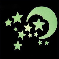 Free shipping Glow in the Dark Moon Stars Wall Bed Stickers Decal Baby Kid Toys Nursery Room 10pack/lot