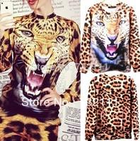 Women's Leopard Tiger 3D Print T Shirt Sport Sweater Long Sleeve Tops Shirt