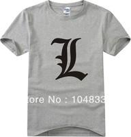 european size summer men short-sleeved 0-neck fashion japanese cartoon death note L  t-shirts t shirt men tee camisas top