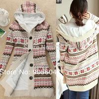 New Women Knitwear Thick Fleece Warm Winter Hooded Cardigan Coat Sweater Tops Casual Ladiy Hoody Sudaderas Mujer Christmas Cloth