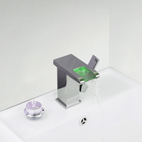 LED Waterfall New Single Handle Stream Bain Bathroom Vanity Sink Faucet  Mixer Tap Brass Deck Mounted Chrome L-92684