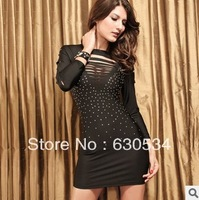 Dear Lover Brand! 2014 New Product. Long Sleeve Dress With Hole&Diamond Decoration For Club.Plus Size For Choice.Free   Shipping