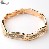2014 New Top Fashion High Quality Alloy bar set Crystal Rhinestone Gold bracelet bangle [3263-C17]