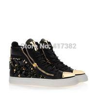 GZ Rhinestone Rivet Wedge Sneakers, Giuseppe Women High Top men's  real leather crystal Sneakers Platform,Gold Toe, Free shpping
