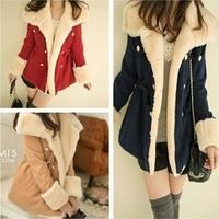 2014 new women's winter warm coat slim cashmere winter coat women wool coat double breasted women coats S M L XL JOY118