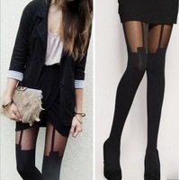 High Quality  New 2013 Sexy Cute Thigh High Stockings Pantyhose Tattoo Mock Suspender Sheer brand Tights Thin Wholesale