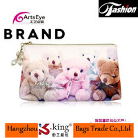 End of Year Clearance B.King Brand Real Leather Cowhide Long Desigual Women Purses With Cute Zipper , Bear Print Carteira Mujer