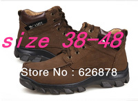 Free shipping 2013 camels male shoes leather warm winter flat shoes Rubber soles men's shoes big size 45 46 47 48 49