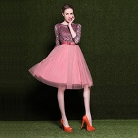 2014 New Arrival Luxury Women Evening Party Dresses Paillette Embroidered Lace Gauze Dress Pink Fashion Vintage Brand Dress
