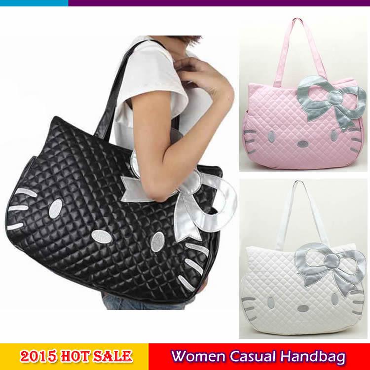 2015 Hot Sale Women's Casual Shoulder bag Hello kitty Fashion Handbag Girls Lovely Satchel bags Women PU leather Shoulder Bags(China (Mainland))