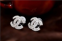 (Min.Order $10) Free Shipping 2013 New Fashion Temperament Inlay Full Rhinestone Letter Pattern Earring