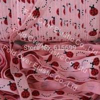 "2013 new lady bug foe elastic print ribbon  5/8"" Fold over elastic FOE free shipping 100yards"