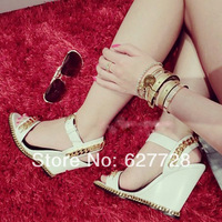 Free Shipping Genuine Leather High Wedge Sandals,Women Summer Fashion Sandals,Golden Chain Casual Summer Sandals