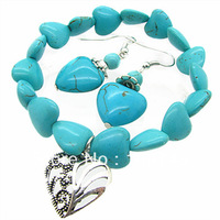 Heart Beads Charm Bracelet Earring Set African Costume Turquoise Zinc Alloy Handmade Wedding Jewelry Sets HC365