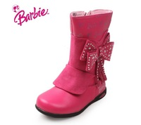Orginal Barbie  Genuine Leather Kids Winter Warm Shoes Pink/Purple/Black Non-slip Snow Boots Children's Sneakers Free Shipping