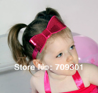 """5 """" Large sequin bow headbands sequin bows hairbands 10Colors 36Pcs/lot cheap price"""