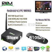 rikomagic XBMC! RKM MK902 Quad Core Android4.4 RK3188 2G DDR3 8G ROM Bluetooth Build in Camera & Microphone [MK902/8G+MK706]