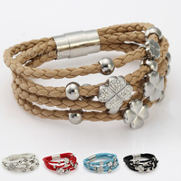 Surfer Womens Girls Clover Charm Multi-Strand 5 Colors  Rope Braided Leather Bracelet Wristband w/ Paved Rhinestones LBM16