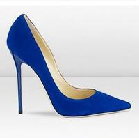 jc shoes royal blue pumps royal blue high heels Genuine leather  women fashion sexy wedding suede shoes free shipping EU 34-41