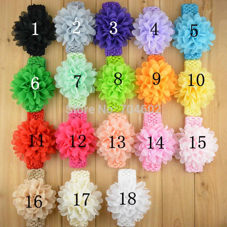 Baby Girls Headbands New 2014 Toddlers Kids Infants Crochet Hairband & Big Chiffon Headbands Children Accessories 10pcs FD249(China (Mainland))