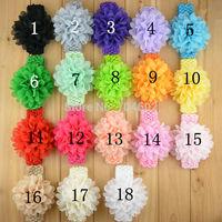 Baby Girls Headbands New 2014 Toddlers Kids Infants Crochet Hairband & Big Chiffon Headbands Children Accessories 10pcs FD249