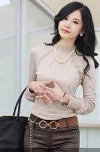escritório senhora turtleneck laço shirts tops mulheres plus size xxl branco veludo preto da forma calorosa inverno blusa blusa frete grátis blusas femininas 2014 de renda blusa com tule camisa china roupas baratas(China (Mainland))
