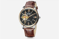 EK019 FreeShipping,2pcs 5%OFF.New 2014 Fashion Original Eyki Automatic Mechanical Watches,Business Dress Leather Wristwatches
