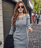 winter women's tight slim hip sexy strapless slim basic long-sleeve dress