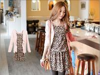 The trend of women sweet gentlewomen slim elegant floral print spaghetti strap twinset one-piece dress