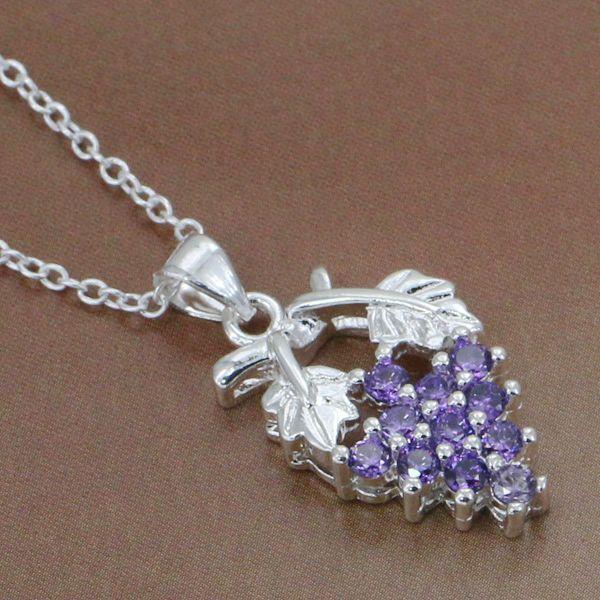 P206 2 Free Shipping 925 sterling silver Necklace 925 silver fashion jewelry Zircon grapes atoajkva bkwakcda