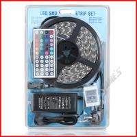 ( 20 pcs/lot ) 5M/Reel 12V SMD 5050 RGB Waterproof LED Strip 300 LEDs 60 LEDs/M+5A Power Supply+44Key Remote Controller