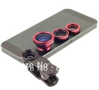 Universal clip contact lens cell phone Fisheye + macro + wide angle 3in1 fisheye for samsung iphone s3 s4 n7100 htc s4 i9500
