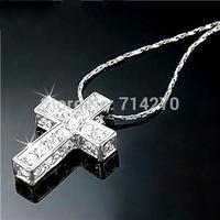 2014 jewelry making Supply Jewelry 18K Gold Plated Band Gp Austrian Crystal stone JESUS piece mini cross Necklace Pendant