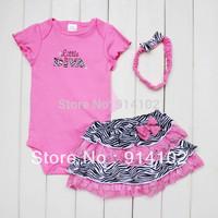 High Quality Baby Zebra Clothing Set Girls 3 Piece Suits Short Romper +Tutu Skirt + Headband Hot Pink Fashion Summer Sets