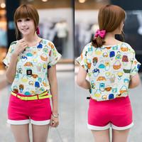 2014 women's shirts summer new fashion print short-sleeve chiffon blouses shirts tops new arrival F4307