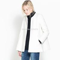 Winter Women o-neck cloak woollen coat white double pocket outerwear casaco Free Shipping 2014 casacos femininos