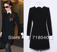 victoria beckham dress new fashion 2013 women high street black knee-length dress ,office dress for winter,spring and autumn