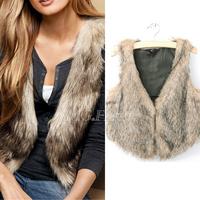 New Women Retro Celeb Faux Fur Gilet Body Warmer Furry Cropped Vests Waistcoat Brown[240325]