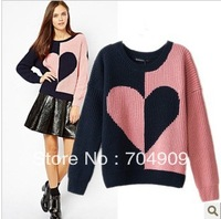 2014 Free Size Fashion Heart  Pattern Knitted Patchwork Sweater Loose Female Basic Long Sleeve Women's sweater outcoat