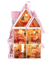 Free Shipping Kids 3D Assembling DIY Sunshine Alice Wooden Doll House, Wooden Toys Big Size Villa Toy With Furnitures,LED lights
