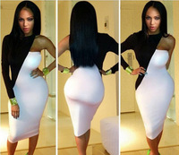 sexy fashion club dress Spliced colors black and white one shoulder dress new arrival 2014 hot bodycon Dresses