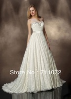 Scalloped Chapel Train Vintage Luxurious White See Through beading Cathedral Lace Wedding Bridal Dresses 2014