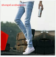 free shipping Spring male Dark Blue Men slim jeans skinny pencil pants boys tights male