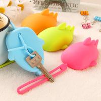 Fashion silica gel style eco-friendly keychain portable key wallet key cover